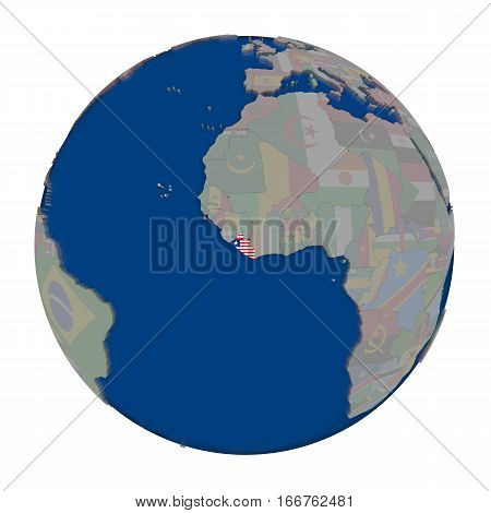Liberia On Political Globe
