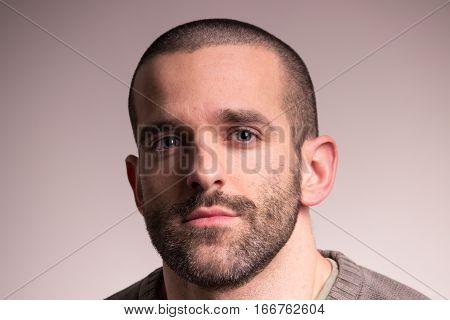 Young Sad Man, Closeup, Looking At Camera, Face Head