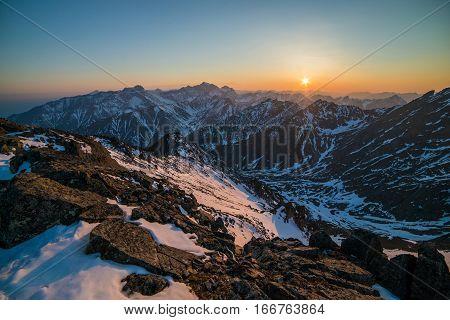 Beautiful Panorama Of Mountains At Sunset