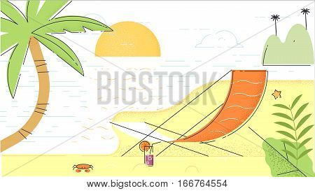 Summer beach in flat design sea side and beach items vector illustration