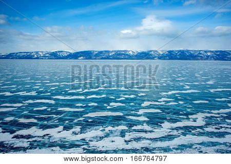 Ice of lake Baikal Olkhon Russia, Siberia