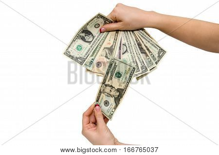 Female hand with dollars. Isolated close up