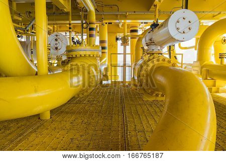Shut down valve ( SDV ) and sea line pipe these valve will automatic close when emergency there are install all inlet and outlet process gas and crude oil