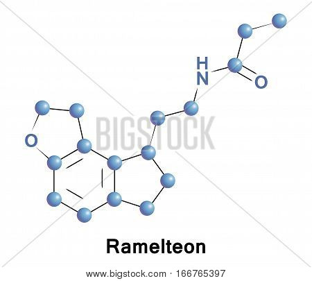 Ramelteon is a sleep agent that selectively binds to the melatonin MT1 and MT2 receptors in the suprachiasmatic nucleus.