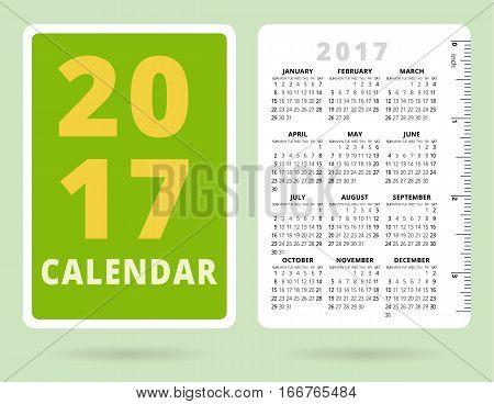 Pocket Calendar 2017 with inch ruler. Vector template