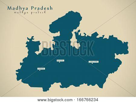 Modern Map - Madhya Pradesh In India Federal State Illustration