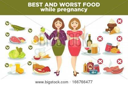 Pregnancy diet best and worst food while pregnant. Vector set with woman and health food for healthy baby and mother. Cartoon nutrition illustration meat and vegetable, milk and egg, fruits and fish. Infographic elements.
