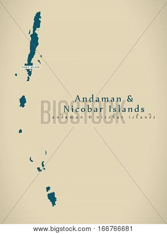 Modern Map - Andaman And Nicobar Islands India In