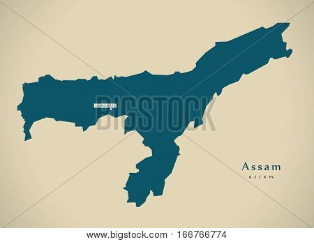 Modern Map - Assam In India Federal State Illustration