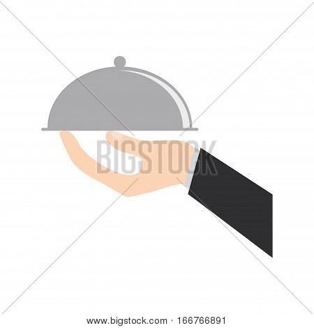 hand holding tray catering food vector illustration eps 10