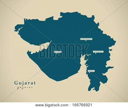 Modern Map - Gujarat In India Federal State Illustration