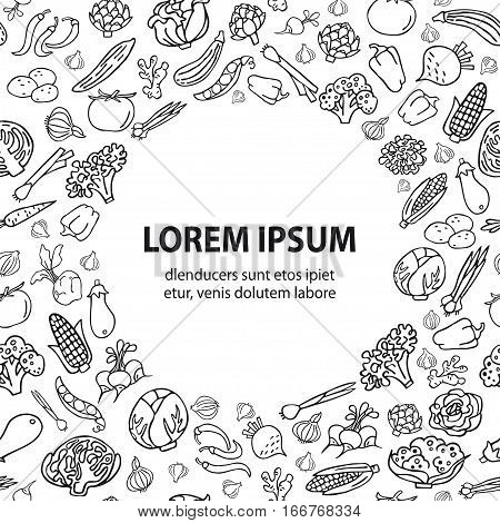 Hand drawn vegetables. Various organic product in a circle place for text. Unique line style vector. Design elements for cards and invitations