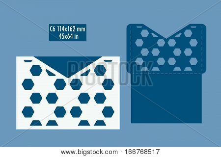 Template - envelope for laser cut. DIY laser cutting envelope. Wedding invitation envelope for cutting machine or laser cutting. Suitable for greeting cards invitations menus
