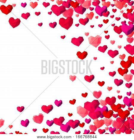 Valentines Day background with scattered low poly triangle hearts