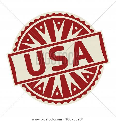 Stamp label or tag business concept with the text USA vector illustration.