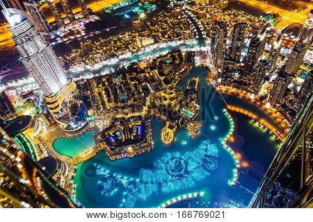 Cityscape shot of downtown dubai at night.