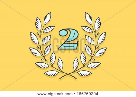 Laurel wreath icon with number Two isolated on a yellow background. Hand drawn design and element for tournament, competition, winner, prize and awarding. Vector Illustration