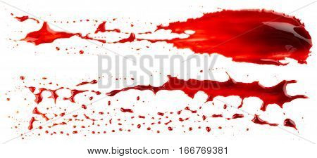 Bloodstains isolated on white background. Bloody strokes