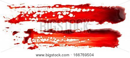 Bloodstains isolated on the white background. Bloody