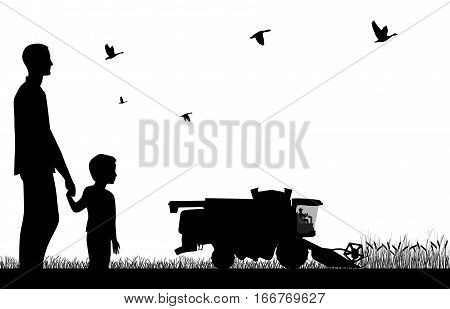 Man with a boy watching to work of combine-harvester