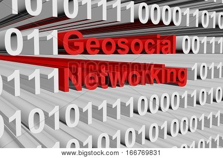 Geosocial networking in the form of binary code, 3D illustration