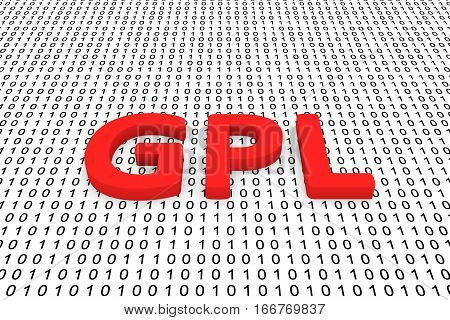 gpl in the form of binary code, 3D illustration