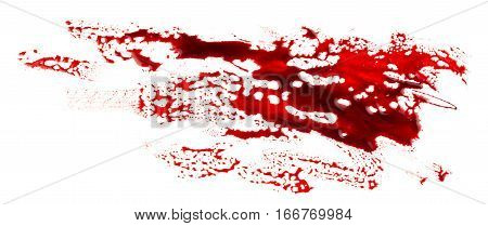 Bloodstains isolated on white background. Bloody splatter
