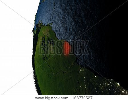 Sunset Over French Guiana From Space