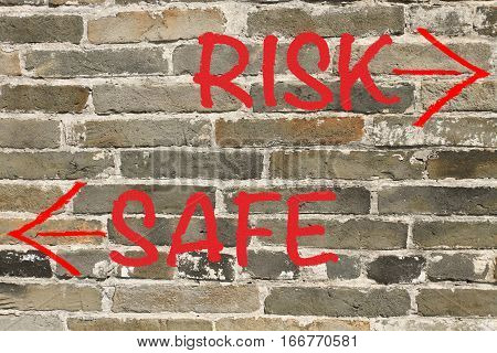 risk versus safe with wall background, concept of investment