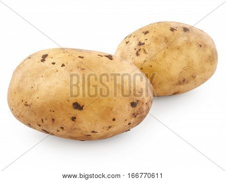 Potatoes isolated on white background. Home grown vegetable