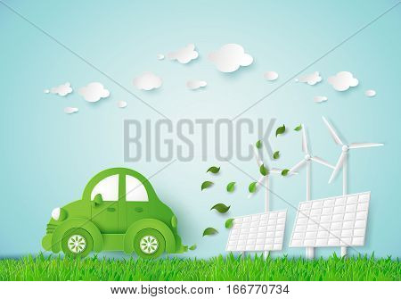 Eco-friendly car in a green field,paper art style