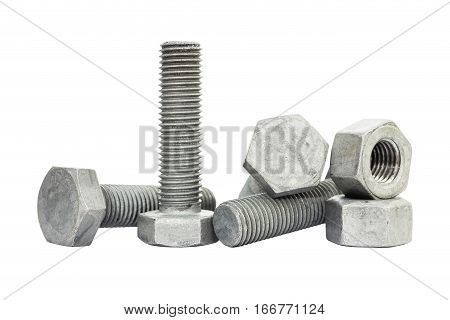 Used bolt, stud and nut isolate on white background. Bolt and nut made from iron coated with zinc for protect corrode.