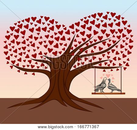 Tree of heart. Decorative tree with hearts and pair enamoured birdies. Vector illustration