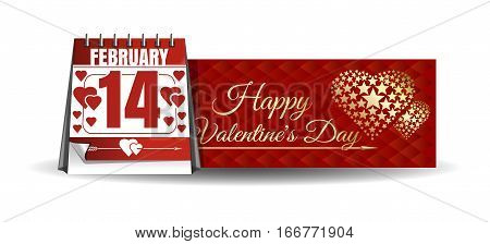 Banner for Valentine's Day. Calendar with festive date against the backdrop of a greeting card.  14th February. Happy Valentine's Day. Vector illustration