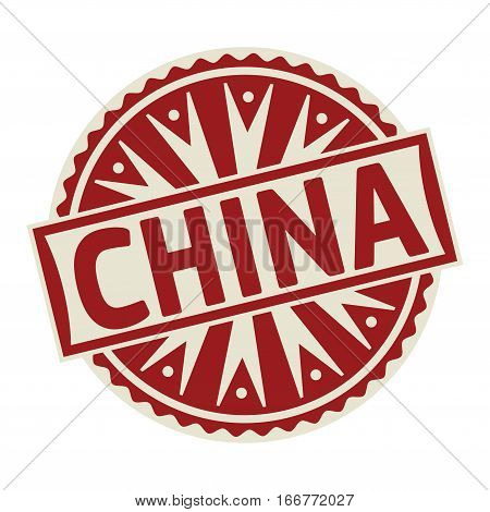 Stamp label or tag business concept with the text China vector illustration.