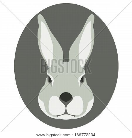 rabbit face vector illustration style Flat front side