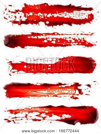 Set of bloodstain isolated on white background
