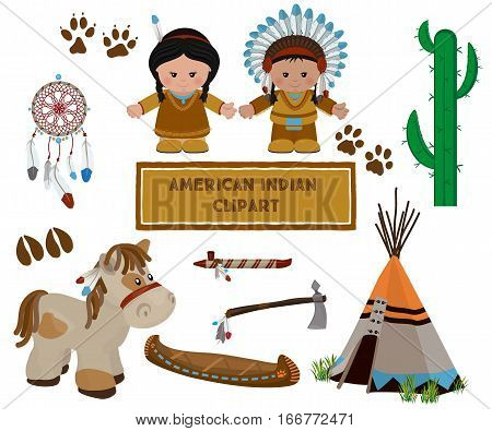 Traditional indian symbols set with cartoon characters of American Indians man and woman in national dress. Vector illustration