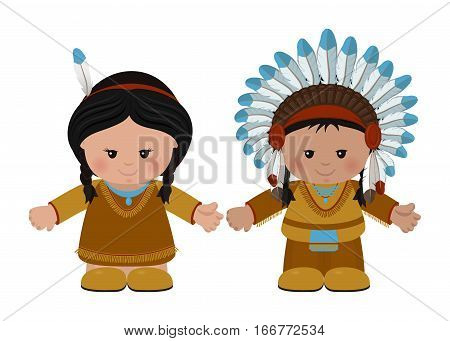 Cartoon characters of American Indians man and woman in national dress. Vector illustration