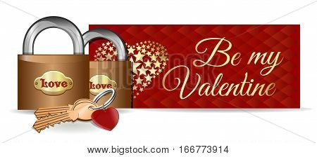 Valentine's Day card. Banner. Design. Locks on the background of a greeting card. Pair of locks, keys and key ring in the shape of heart. Be my Valentine. Vector illustration