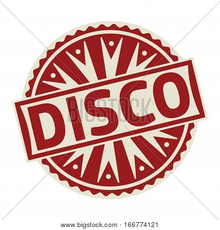 Stamp label or tag business concept with the text Disco vector illustration.