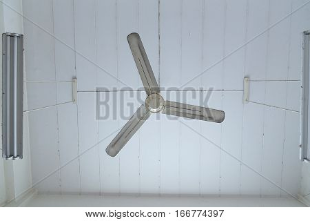 White ceiling Fan hanging in room. electric fan