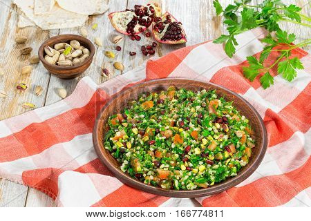 Tabbouleh Salad With Pomegranate, Pistachio Nuts, Parsley, Peppermint
