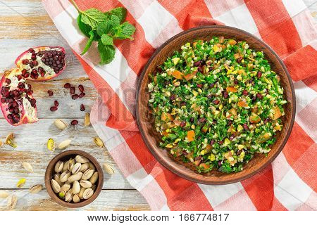 Tabbouleh Salad With Pomegranate And Pistachio Nuts