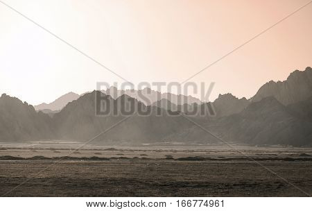 Amazing Desert sunset with bright color gradients