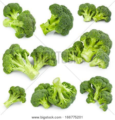 Set of ripe broccoli isolated on white background