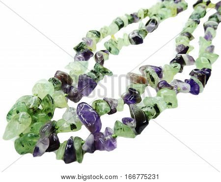amethyst with prehnite gemstone beads isolated on white background