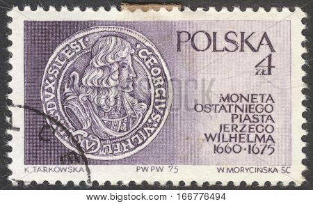 MOSCOW RUSSIA - CIRCA DECEMBER 2016: a post stamp printed in POLAND shows a coin of Prince Jerzy Wilhelm the series