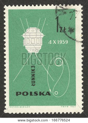 MOSCOW RUSSIA - CIRCA DECEMBER 2016: a post stamp printed in POLAND shows Lunik 3 the series
