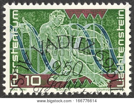 MOSCOW RUSSIA - CIRCA DECEMBER 2016: a post stamp printed in LIECHTENSTEIN Representation of Biology circa 1969